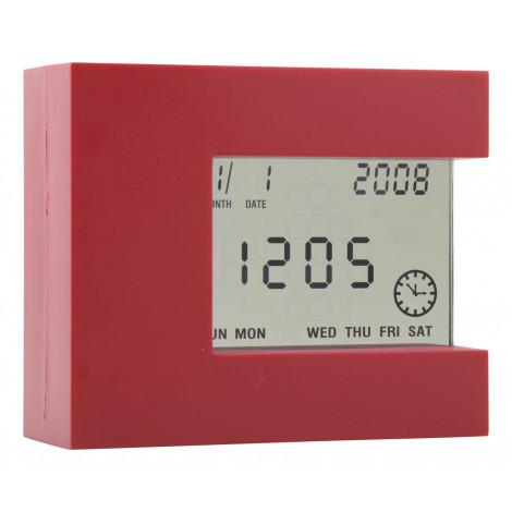 Multifunkční stolní hodiny, červená