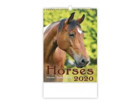 Nástěnný kalendář Horses/Pferde/Koně/Kone 2020