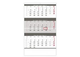 Nástěnný kalendář Tříměsíční šedý 2020