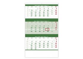 Nástěnný kalendář Tříměsíční zelený 2020