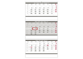 Nástěnný kalendář Tříměsíční skládaný šedý 2020
