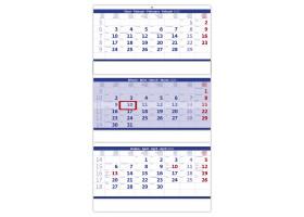 Nástěnný kalendář Tříměsíční skládaný modrý 2020