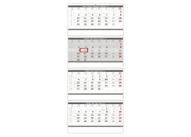 Nástěnný kalendář Čtyřměsíční skládaný šedý 2020