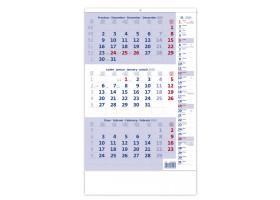 Nástěnný kalendář Tříměsíční modrý s poznámkami 2020