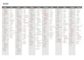 Stolní kalendář Plánovací karta 2020