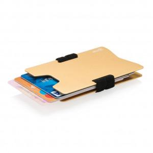 Minimalistická hliníková peněženka RFID s ochranou, zlatá ba